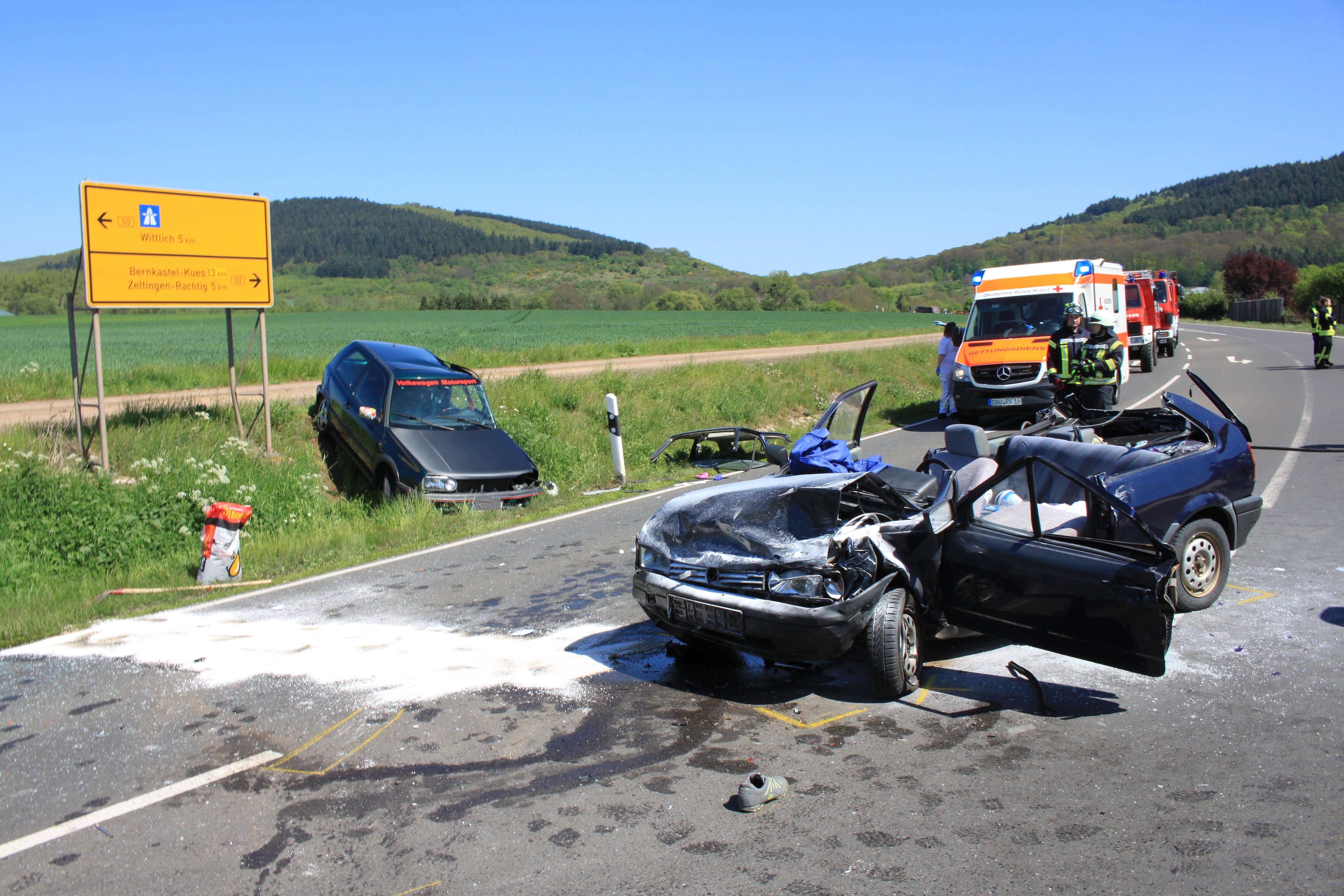 Zwei schwer Verletzte nach schwerem Unfall auf der B 50 bei Platten ...
